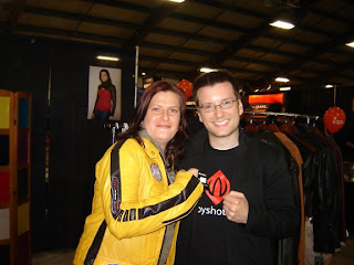 Trying on the Kill Bill Inspired Bride Jacket at the AbbyShot Booth