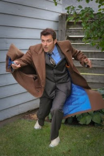 Donn in action in his Doctor Who Tenth Doctor's Coat from AbbyShot