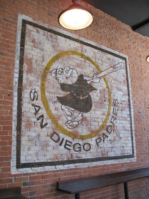 vintage sports logo murals in San Diego Gaslamp restaurants
