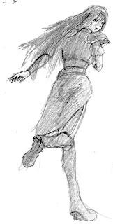 Alis Landale correndo, desenhada num ônibus