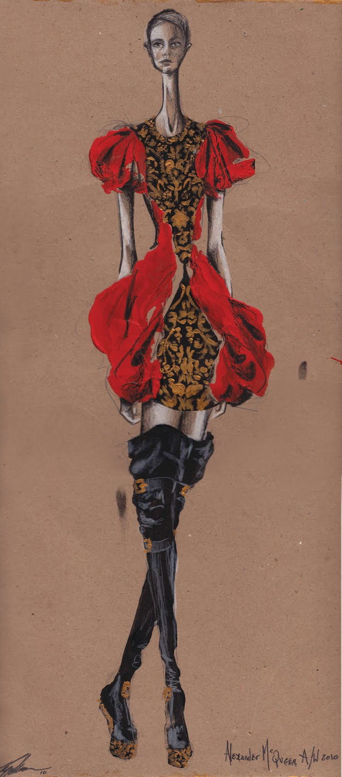 309 best fashion illustration - Alexander McQueen (by for him) 29