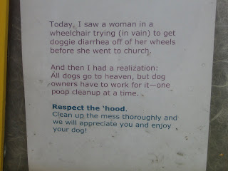Flyer - Plight of dog diarrhea on wheelchair - Plea for responsible dog doo clean-up. Castro, San Francisco CA, 94114