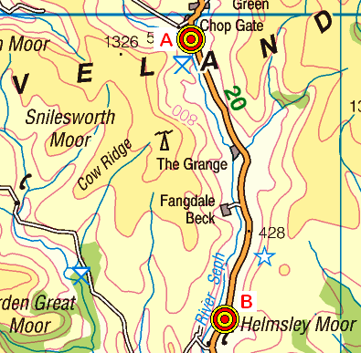 Map of the Chop Gate to Helmsley area - Part 1