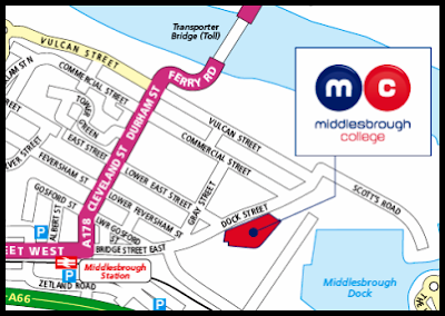 Map of the Middlesbrough College area