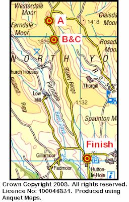 Map of the Lion Inn - Hutton-le-Hole area