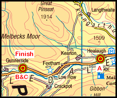 Map of the Swaledale area