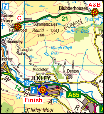 Map of the Blubberhouses-Ilkley area