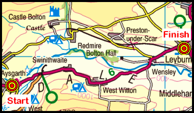 Map of the Aysgarth-Leyburn area