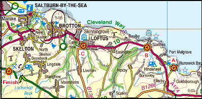 Map of the Runswick Bay-Slapewath area