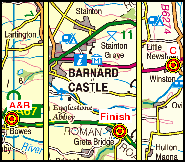 Map of the Bowes to Greta Bridge area