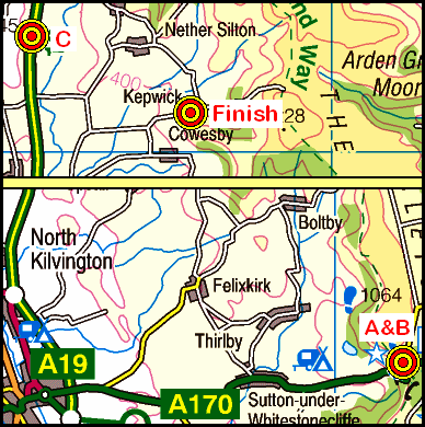 Map of the SuttonBank-Kepwick area