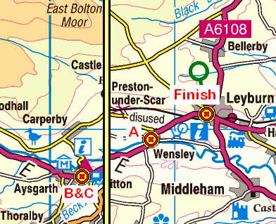 Map of the Aysgarth to Leyburn area