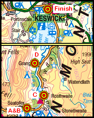 Map of the Seatoller to Keswick area