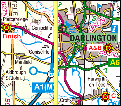 Map of the Darlington-Piercebridge area