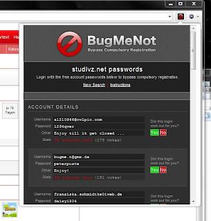 BugMeNot Extension