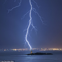 A huge lightning attach strikes Statue of Liberty for a moment