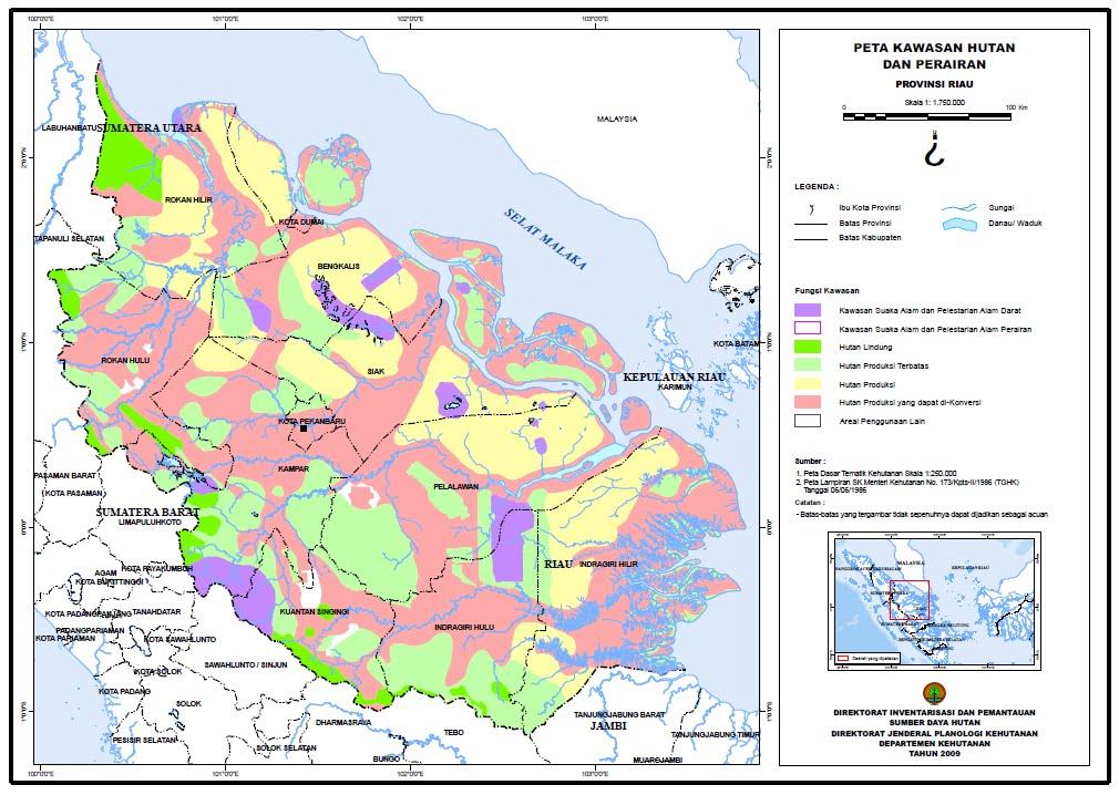 Peta kawasan hutan propinsi riau