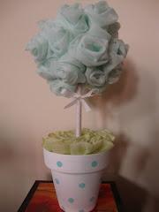 arbolitos de rosas de voile aguamarina