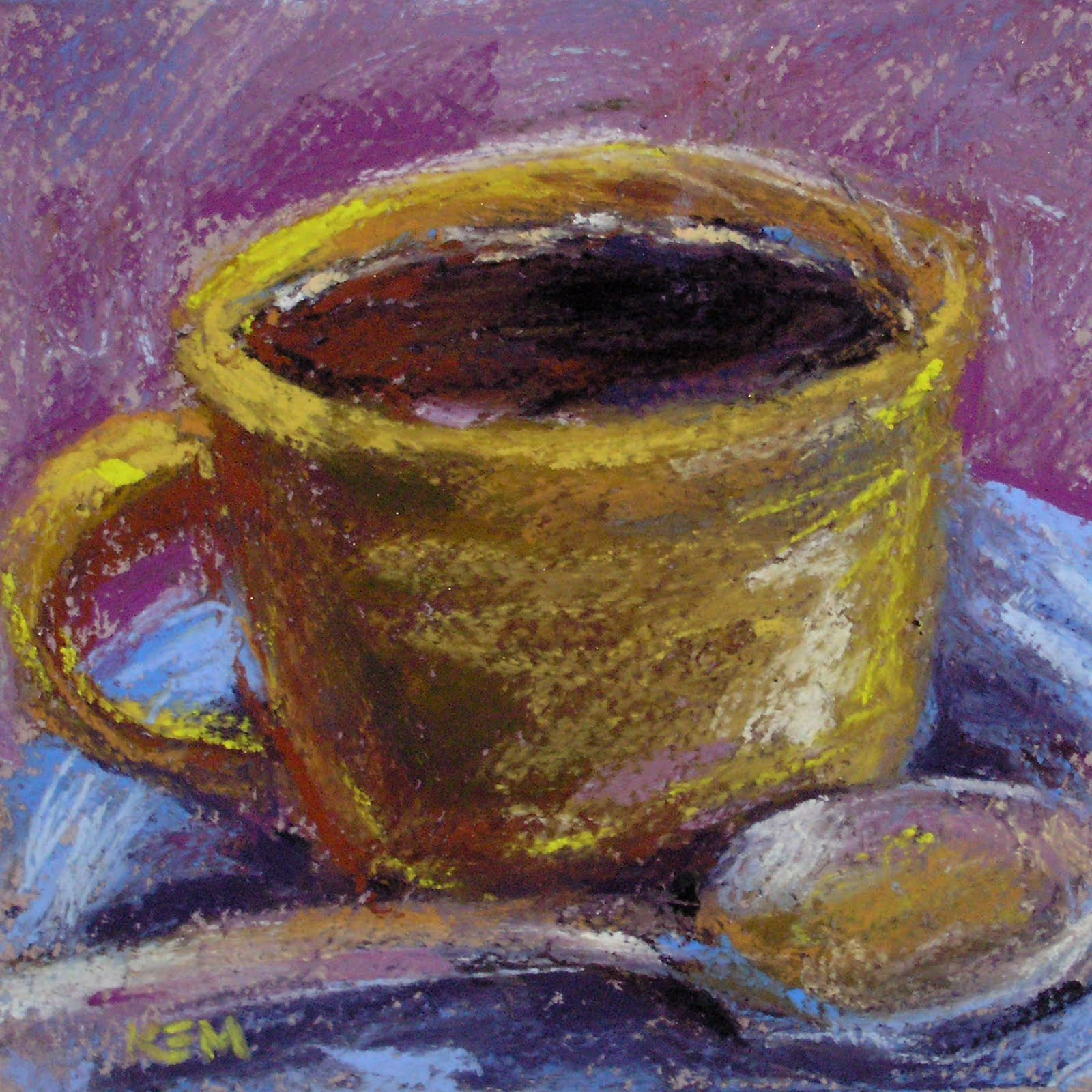 Painting my world cup of coffee pastel painting for Coffee watercolor