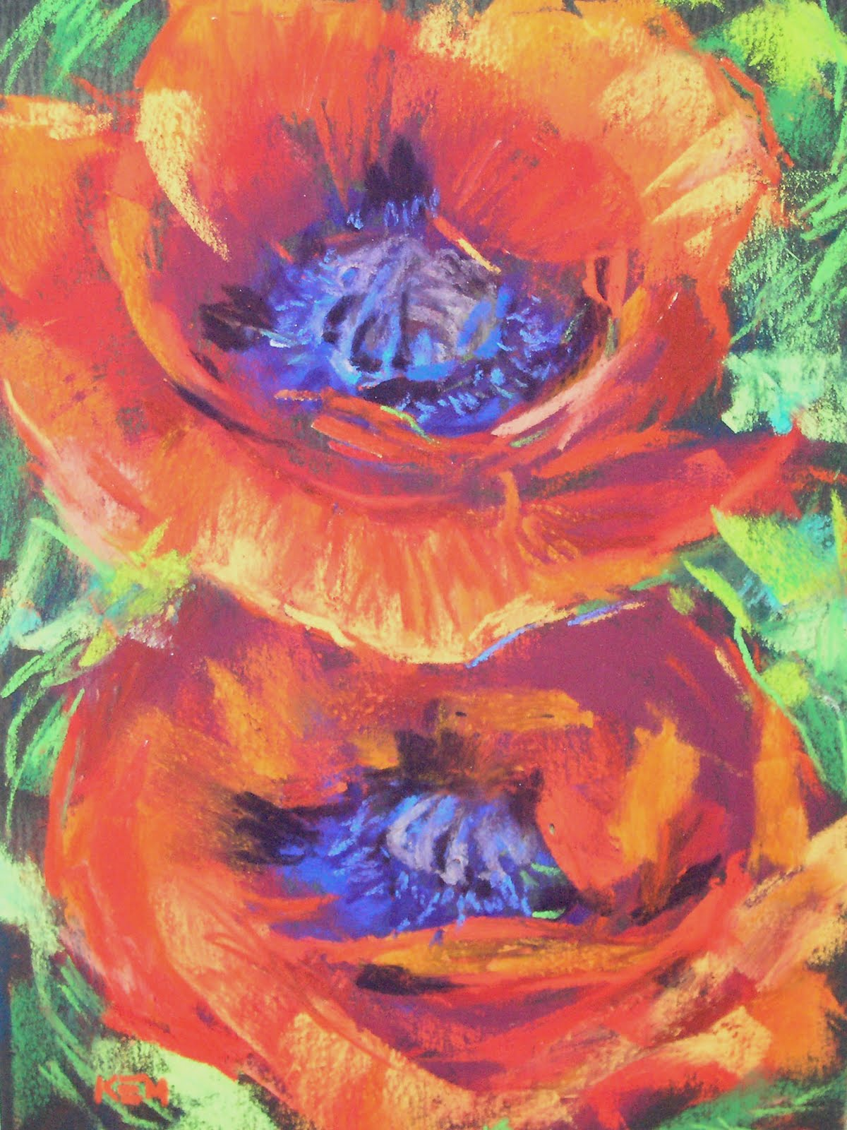 Simply poppies 5x7 pastels