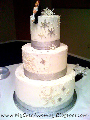 snowflake wedding day cake