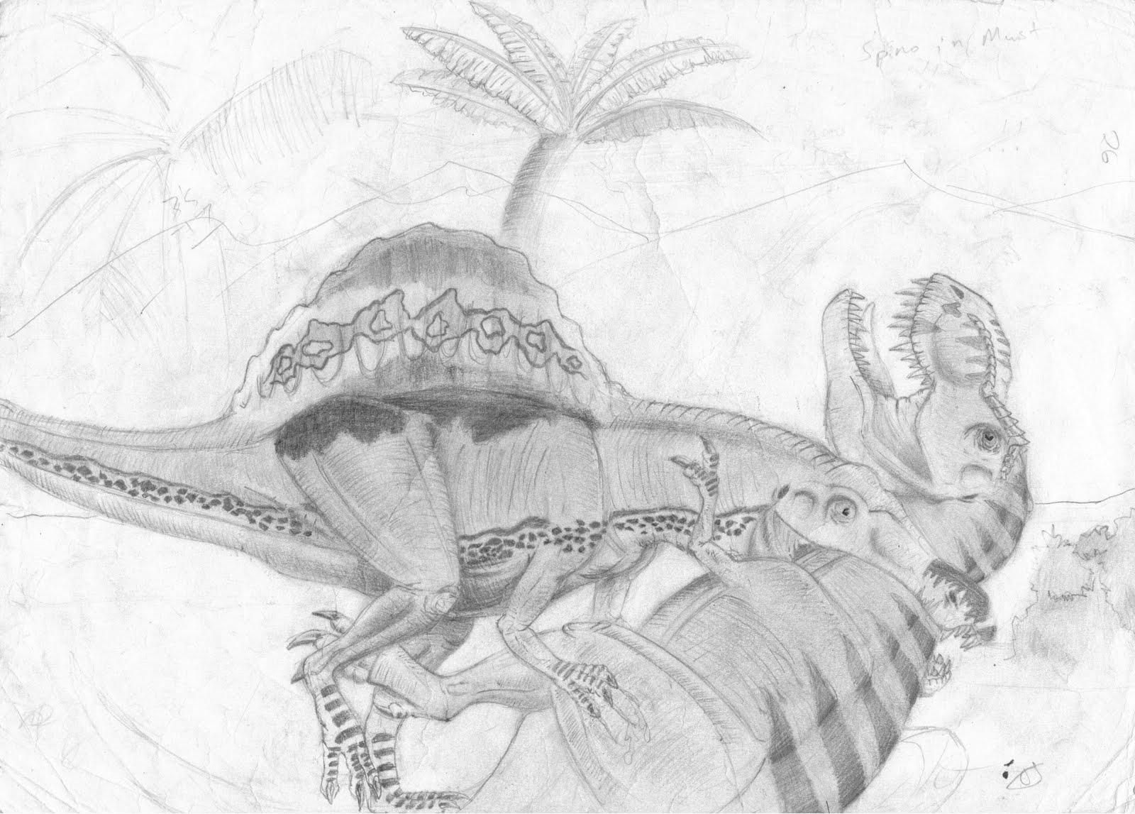 Tyrannosaurus Rex VS Spinosaurus AegyptiacusYangchuanosaurus Coloring Page