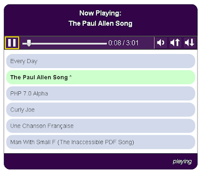 Screen shot of Accessible Audio Player including a Now Playing panel, control bar, playlist, and status bar