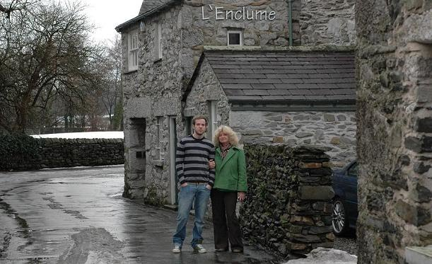 Mum and I, outside L'Enclume