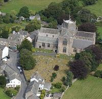 Cartmel Priory church from the air
