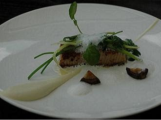 """Skate 'belly', cauliflower, buttered stems and Douglas fir"" - an excellent fish dish"