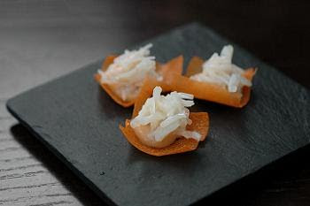 Crab mousse and crabmeat on a corn cracker - stunningly good