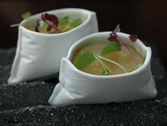"""Creamed foie, radish and smoked eel"" - served in ceramic purses"