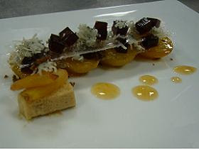 Victoria plum, acacia honey and Nanny Williams blue goat&#8217;s cheese with cheese croquant, muscovado jelly and plum pure