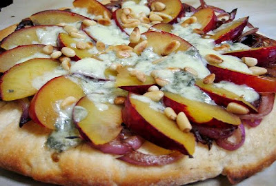 Plum Pizza with Gorgonzola & Pine Nuts