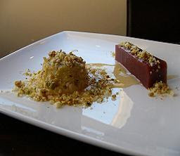 Blue Cheese Parfait with Plum &amp; Tamarind Jelly, Crushed Macadamia &amp; Pistachio and Honey with White Balsamic Crme