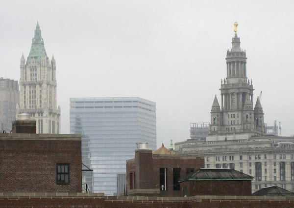 Foggy Light - Woolworth Building, 7 WTC, and the Municipal Building from the Manhattan Bridge.