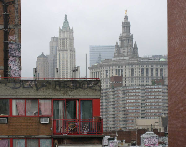 Red Shoulder - Looking over the right shoulder of the Red Building, with the Woolworth Building and Municipal Building in the distance.