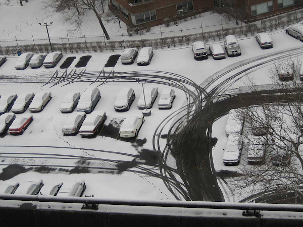 Snow Parking Drawing - Looking down at the Corlears Hook Houses parking lot from the LES end of the Williamsburg Bridge.