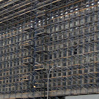 Full Frontal Scaffold - During construction on Adams St. north of Tillary St. in Brooklyn.