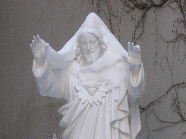 Snow Jesus - Winter in the garden at Church of Our Saviour on Park Ave. So. at 38th St.