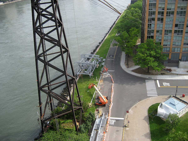 Down on Roosevelt Island - Upgrading tram hardware, from the Queensboro Bridge.