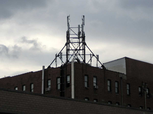 Resurrected Skeleton - From supporting a water tank to wireless. On Kingsland Ave. in Greenpoint.