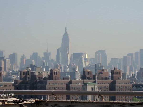 Midtown from Brooklyn Bridge - Past the water towers of Knickerbocker Village.