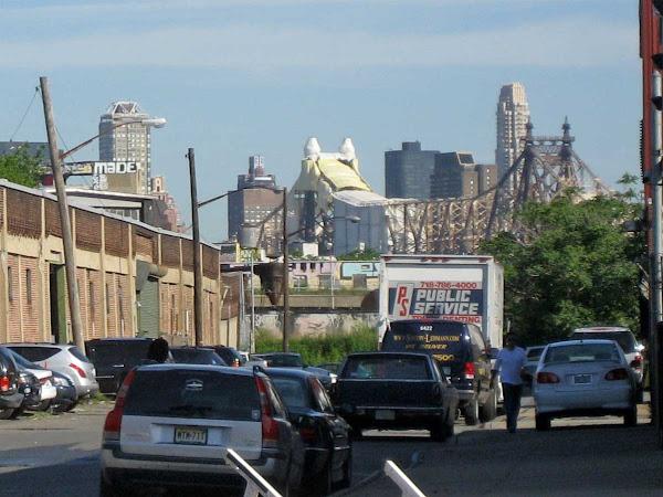 Queensboro Bridge Horse - The Queensboro Bridge draped in half a horse costume, from 49th Ave. in Queens.