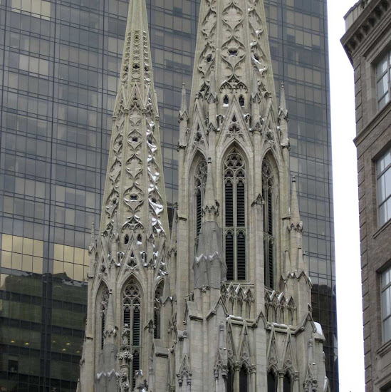 St. Patrick's Spires - Looking warm in spite of snow, on 5th Ave. at 51st St.