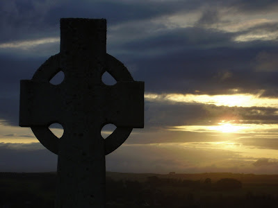 setting sun and celtic cross kirkcudbright