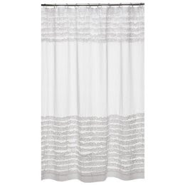 Cottage of Stone: Vintagey white ruffled shower curtain bargain-