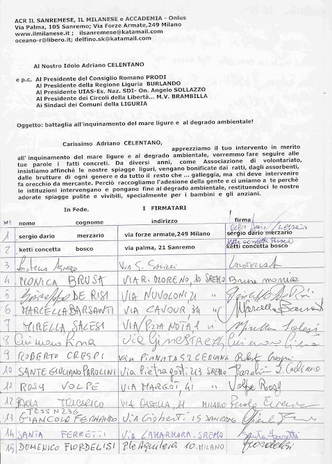 Raccolta di firme di ACR x l'ambiente marino..