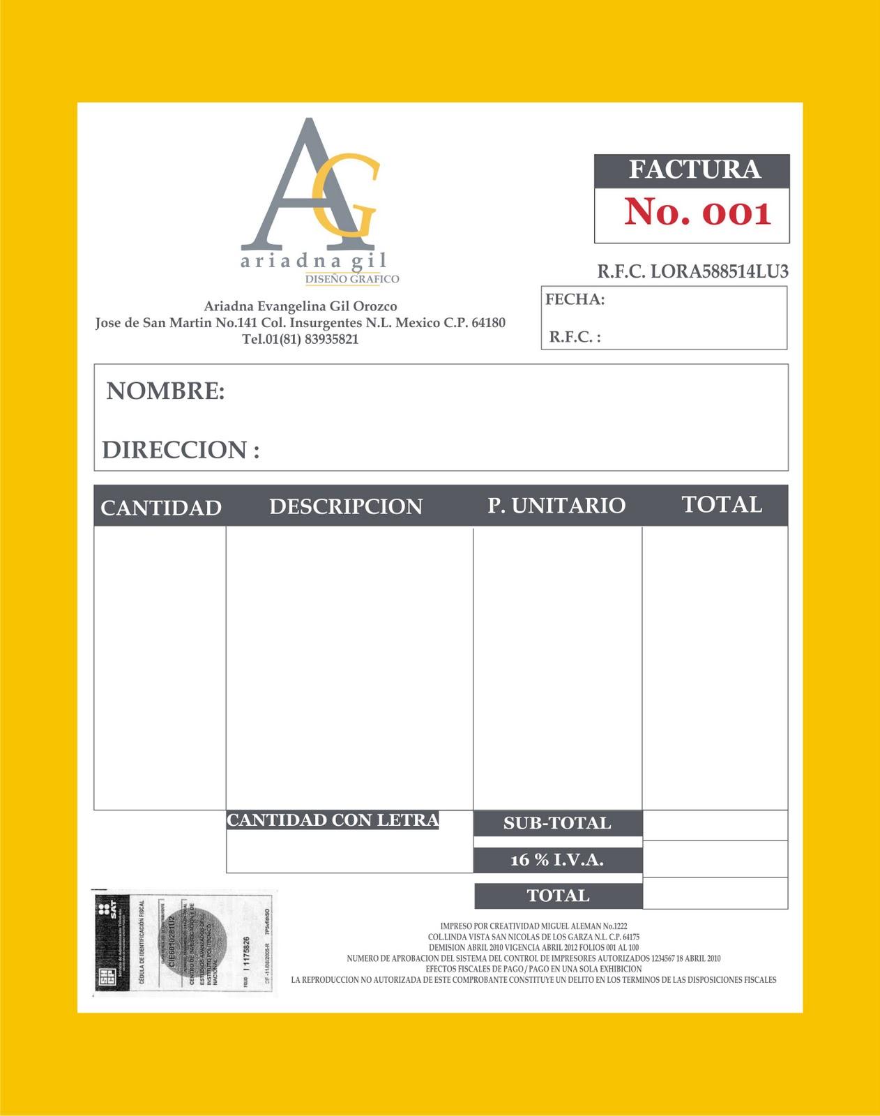 Graphic design identidad corporativa for Diseno de facturas