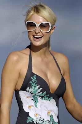 Paris Hilton sexy Black Flower Piece_Bikini